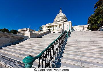 建築物, 州議會大廈, 華盛頓特區, 我們, 陽光, 天