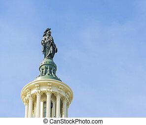 建築物, 州議會大廈, 頂部, 華盛頓特區, 雕像