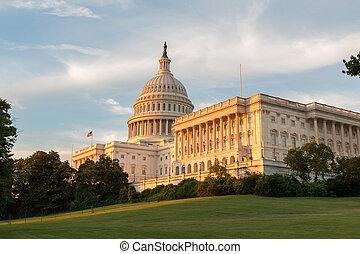 建築物, 州議會大廈, 黃昏, 我們, 綠色的草, 看法