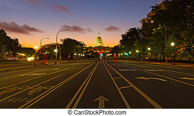建築物, 州議會大廈, avenue., 賓夕法尼亞, 我們, 看見, 黎明