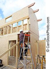 建築物, 房子建造, 工人