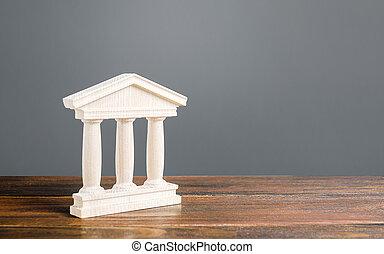 建築物, 概念, 或者, 古董, library., 銀行業務, 庭院, 城市, 柱子, 小雕像, 銀行, 鎮, government., 部份, 大學, 建筑, 教育, 老, style., 管理, 紀念碑, 白色