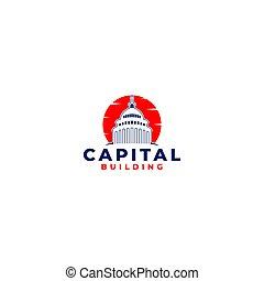 建築物, 標識語, 設計, 首都, 矢量