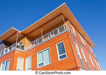 建築物, 穿著, 現代, 細節, 外部, 公寓租房, 木材
