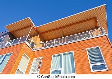 建築物, 穿著, 細節, 明亮, 外部, 公寓租房, 木材