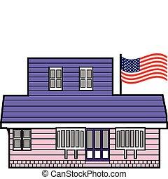 建築物, 美國人, 桿, 旗
