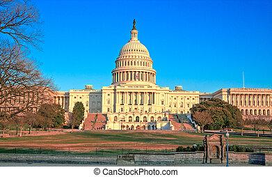 建築物, 華盛頓 國會大廈, 傍晚, dc