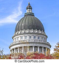 建築物, 藍色正方形, 壯麗, 清楚, 猶他州, 圓屋頂, 針對, 州首都, 天空