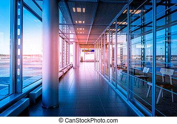 建築物, 走廊, 玻璃