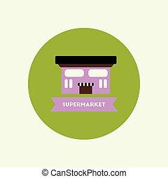 建築物, 超級市場, 圖象, 顏色, 時髦, 環繞