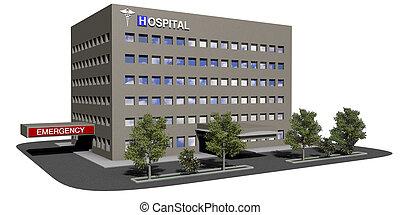 建築物, 醫院, 白色 背景