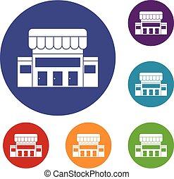 建築物, 集合, 超級市場, 圖象