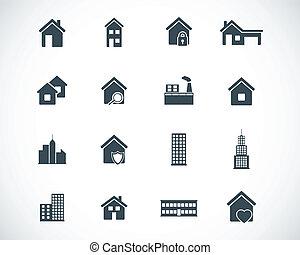 建築物, 集合, 黑色, 矢量, 圖象