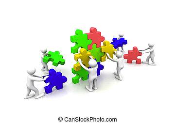 建築物, 難題, 配合, 事務, 一起
