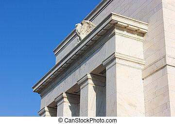 建築物, 鷹, dc, 聯邦, us., 華盛頓, 前面, 正面, 儲備, morning., eccles