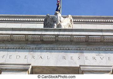 建築物, 鷹, dc, 聯邦, us., 頂部, 華盛頓, 向上, 部份, statue., 關閉, 儲備