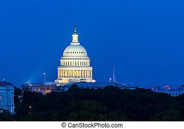 建築物, 黃昏, 團結, 州議會大廈, 華盛頓特區, 國家