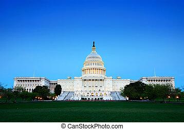建築物, 黃昏, 州議會大廈, 華盛頓, 小山, dc.