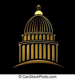 建築物, 黃金, 州議會大廈, 圖象