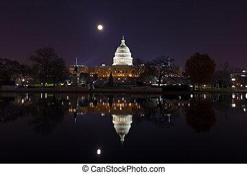 建築物, dc, 團結, 州議會大廈, 華盛頓, 月亮, 狀態, 上面, 超級, usa.
