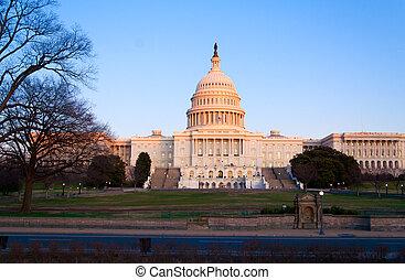 建築物, dc, 州議會大廈, 美國, 華盛頓, 傍晚, 以前