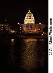 建築物, dc, 州議會大廈, 美國, 華盛頓, 夜晚