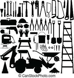 建設工具, 矢量, 黑色半面畫像