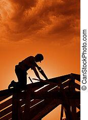 建設, 傍晚, 站點, 有暴風雨
