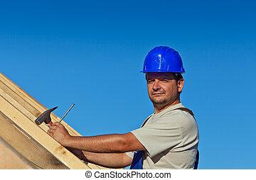 建設, 驕傲, 工人, 屋頂