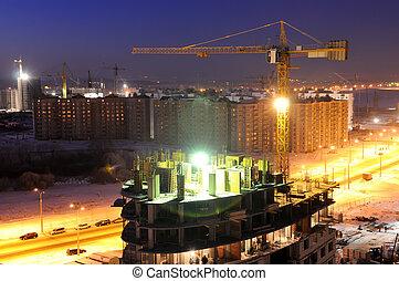 建造建筑物, 站點, 夜晚