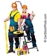 建造者, 夫婦, tools., 建設