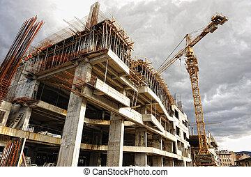建造起重机, 建築工地