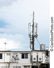 建造頂部, telecoms, 屋頂, aatenna