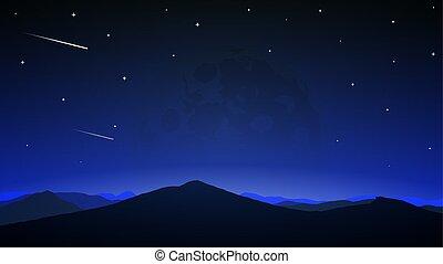 彗星, 充分, 夜晚, 背景, 月亮