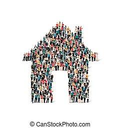 形式, 人們, 房子, 組