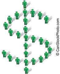 形式, 人們, 錢符號, 美元徵候, 綠色, 站
