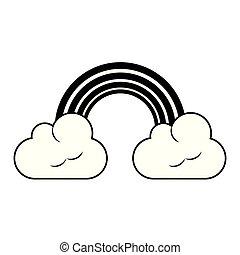 彩虹, 云霧, 被隔离, 黑色, 白色, 卡通