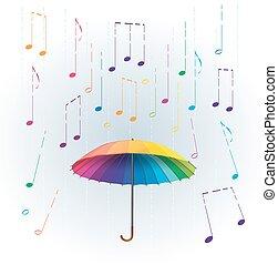 彩虹, 傘, 相象, 鮮艷, 摘要, 雨, 被風格化, 插圖, 落下, 音樂, 筆記。