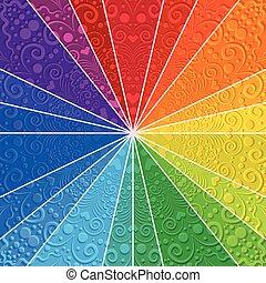 彩虹, 光線, 鮮艷, 葡萄酒, 捲曲, 背景