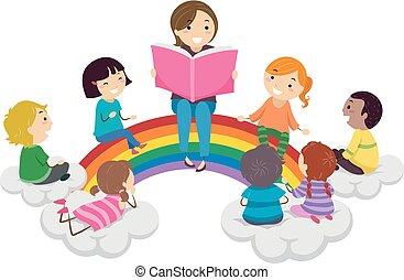 彩虹, 孩子, stickman, 講故事, 插圖