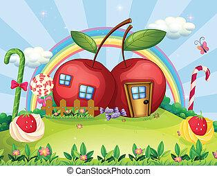 彩虹, 房子, 小山頂, 蘋果, 二