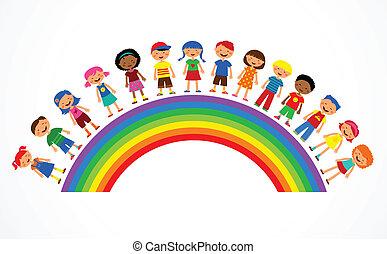 彩虹, 矢量, 孩子, 插圖, 鮮艷