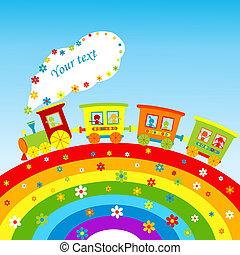 彩虹, 訓練, 正文, 插圖, 卡通, 地方, 你