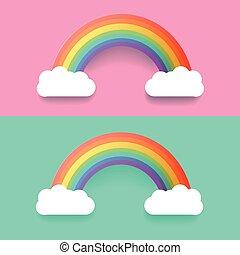 彩虹, 集合, 鮮艷, 插圖, clouds., 矢量