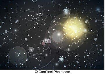 很多, 夜晚天空, 星座, 透鏡, 現實, 星, 閃光