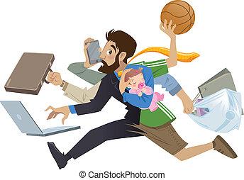 很多, 超級, 忙, 卡通, 人, multitask, 父親, 工作