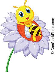 很少, 休息, 蜜蜂, 卡通, b