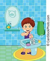 很少, 刷, 微笑, 男孩, 牙齒, 漂亮, 內衣