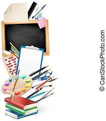 很少, 單子, 顏色, 統治者, 垂直, 黑板, 鉛筆, 藝術, 背景, 邊框, 鋼筆, 調色板, 堆, books., 學校, notepad