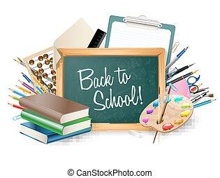 很少, 單子, 顏色, 統治者, 黑板, 鉛筆, 藝術, 背景, 邊框, 鋼筆, 調色板, 矢量, 堆, books., 學校, notepad